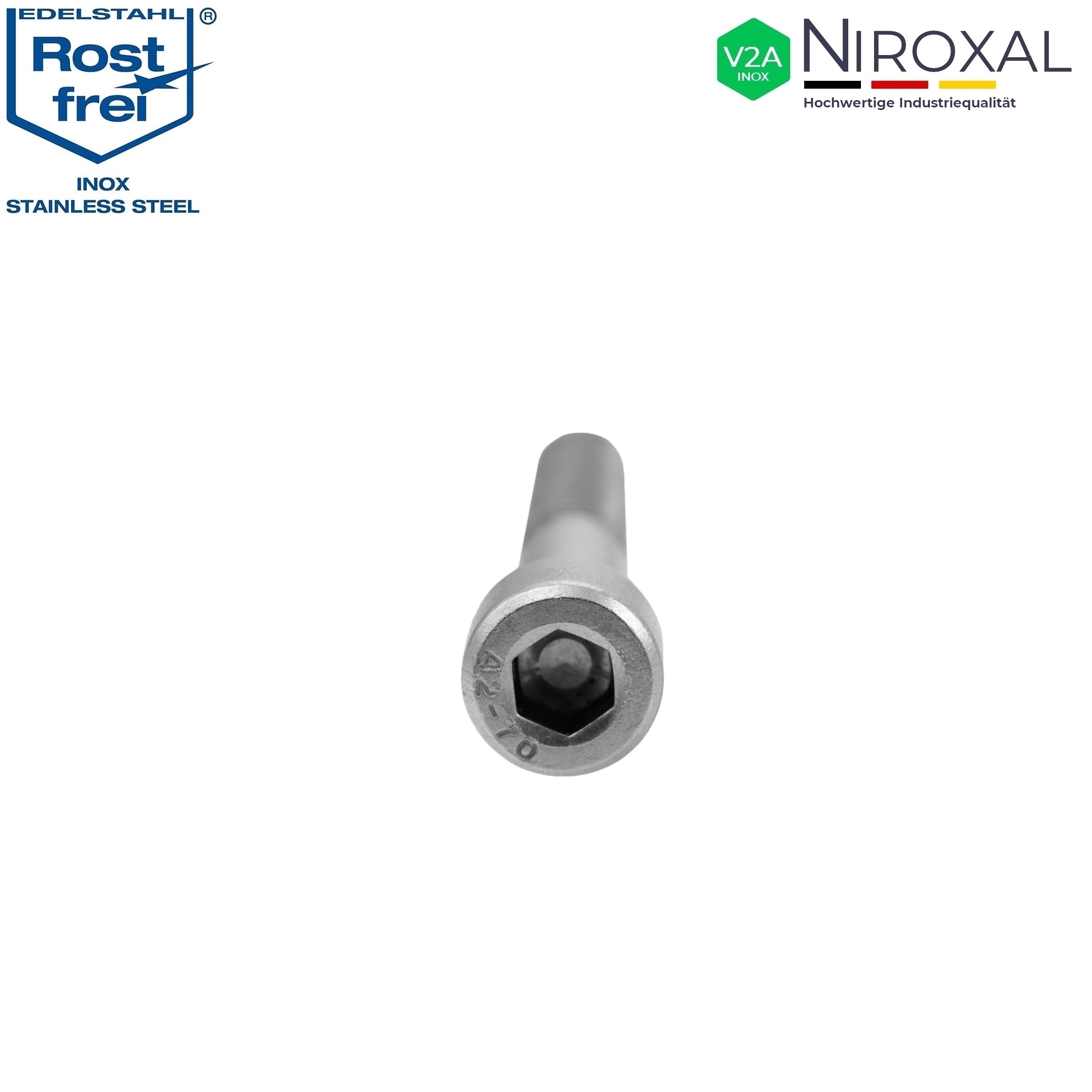 Edelstahl Zylinder-Schraube rostfrei V2A M6-mm stark 20-mm Schrauben-L/änge 50 St/ück 20-mm Teil-Gewinde Innensechskant M6x20